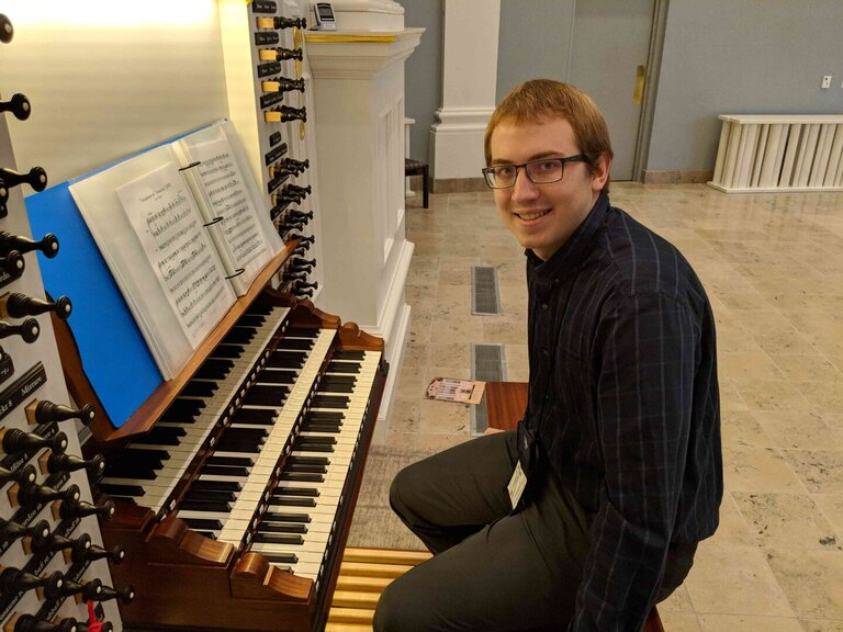 myself at the console of the new organ at Village Presbyterian Church in Prairie Village, Kansas